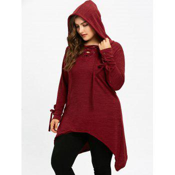Long Sleeve Plus Size Hooded Sharkbite T-shirt - WINE RED 3XL