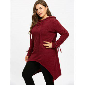 Long Sleeve Plus Size Hooded Sharkbite T-shirt - WINE RED 4XL