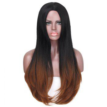 Long Center Parting Straight Colormix Synthetic Fiber Wig -  BLACK/BROWN