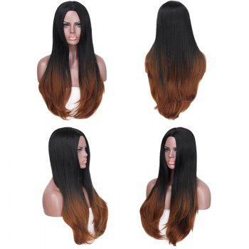 Long Center Parting Straight Colormix Synthetic Fiber Wig - BLACK AND BROWN BLACK/BROWN