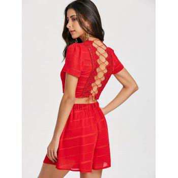 Lace-up Back Shorts Two Piece Set - RED XL