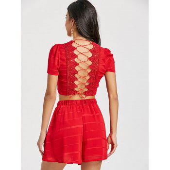 Lace-up Back Shorts Two Piece Set - RED RED