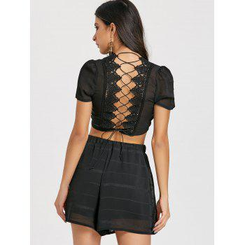 Lace-up Back Shorts Two Piece Set - BLACK L