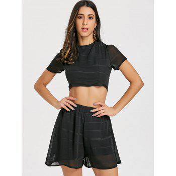 Lace-up Back Shorts Two Piece Set - BLACK XL