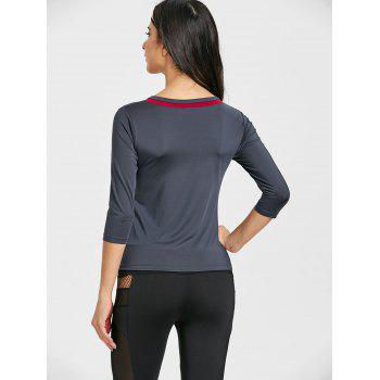 Contrast V Neck Workout T-shirt - DEEP GRAY L