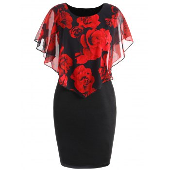 Plus Size Valentine Rose Capelet Dress