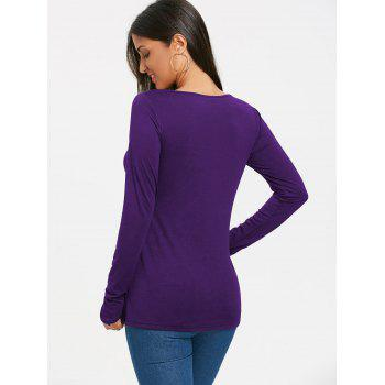 Long Sleeve Cut Out Front Fingerless T-shirt - PURPLE 2XL