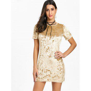 Short Sleeve Velvet Mini Dress - YELLOW S