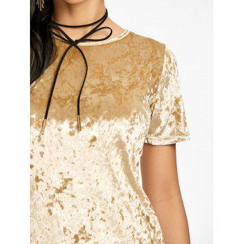 Short Sleeve Velvet Mini Dress - YELLOW L
