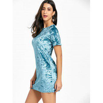Short Sleeve Velvet Mini Dress - BLUE XL