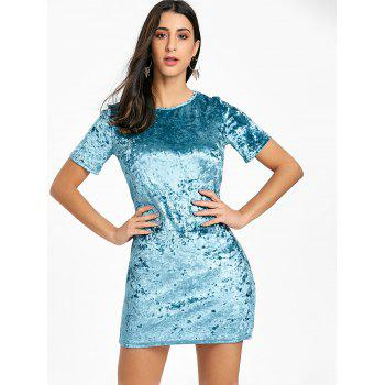 Short Sleeve Velvet Mini Dress - BLUE S