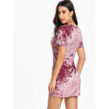 Short Sleeve Velvet Mini Dress - PINK XL