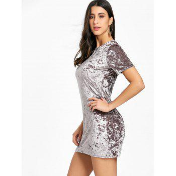 Short Sleeve Velvet Mini Dress - GRAY L