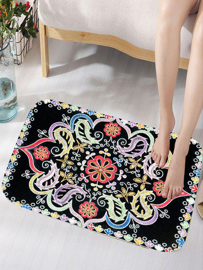 Flower Print Skidproof Flannel Bath Rug vintage color block skidproof flannel bath rug