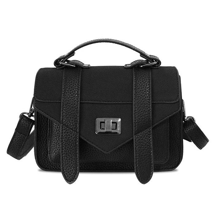 Stitching Flap Crossbody Bag - BLACK