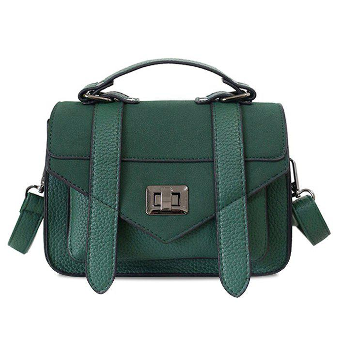 Stitching Flap Crossbody Bag - GREEN