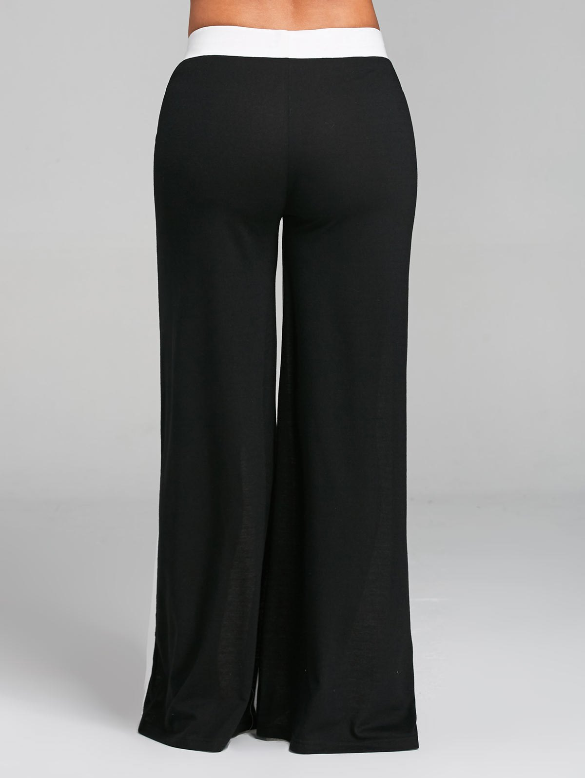 Color Block Wide Legged Pants - WHITE/BLACK 2XL