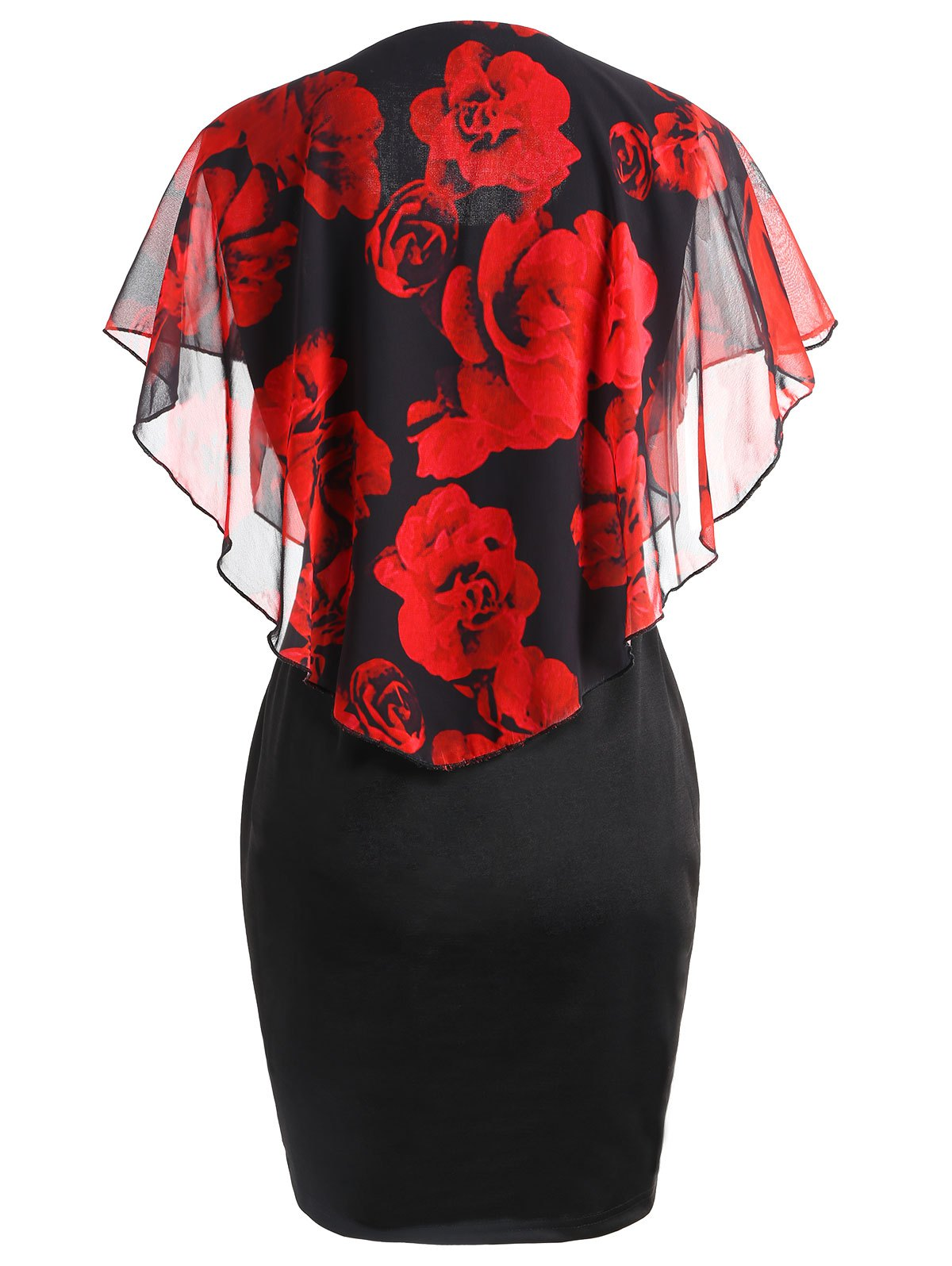 Plus Size Valentine Rose Capelet Dress - BLACK/RED 2XL