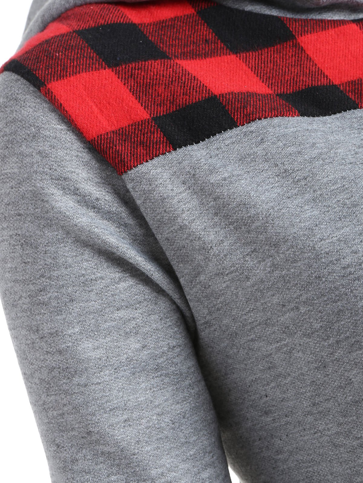 Plus Size Plaid Trim Zip Up Hoodie - GRAY/RED XL