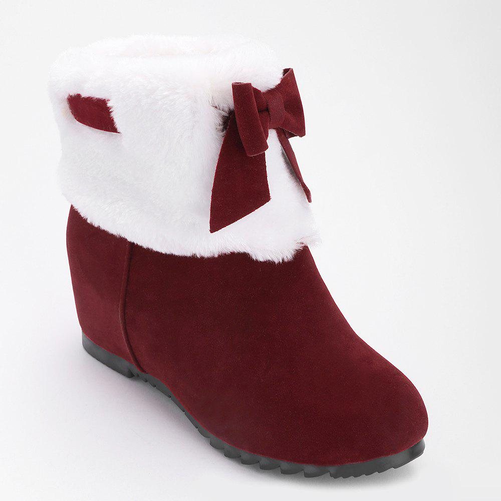 Hidden Wedge Bow Fuzzy Short Boots