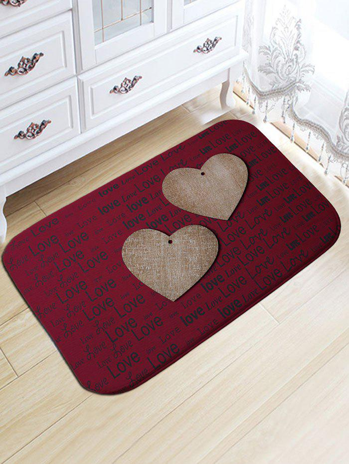 Valentine's Day Hearts Love Print Flannel Skidproof Bath Rug vintage color block skidproof flannel bath rug
