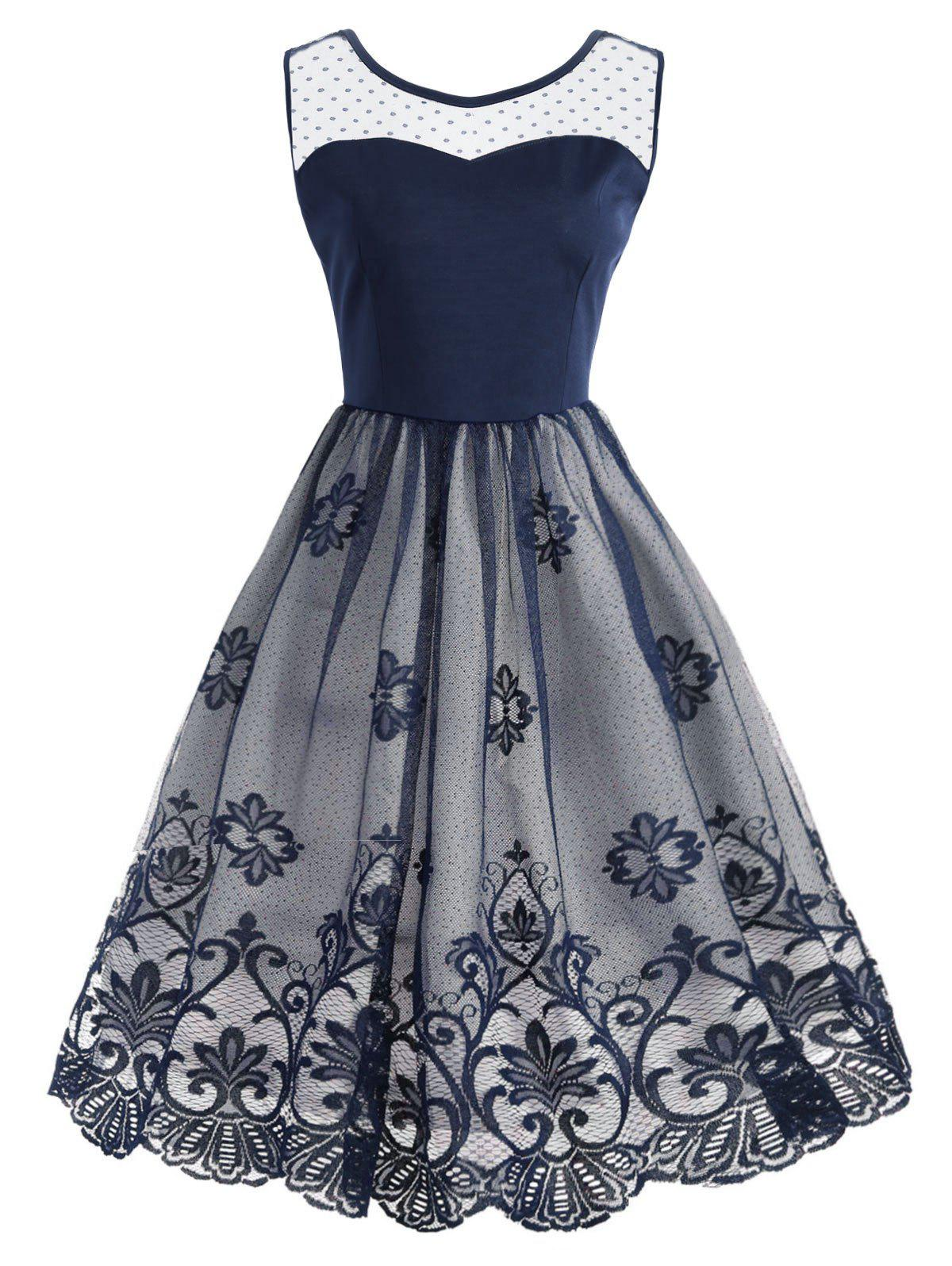Robe de cocktail à dos nu en dentelle - Bleu M