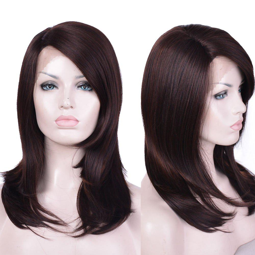 Long Side Parting Layered Straight Synthetic Lace Front Wig long side parting straight colormix synthetic lace front wig