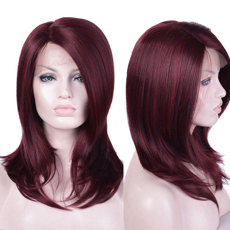 Long Side Parting Layered Straight Synthetic Lace Front Wig - WINE RED