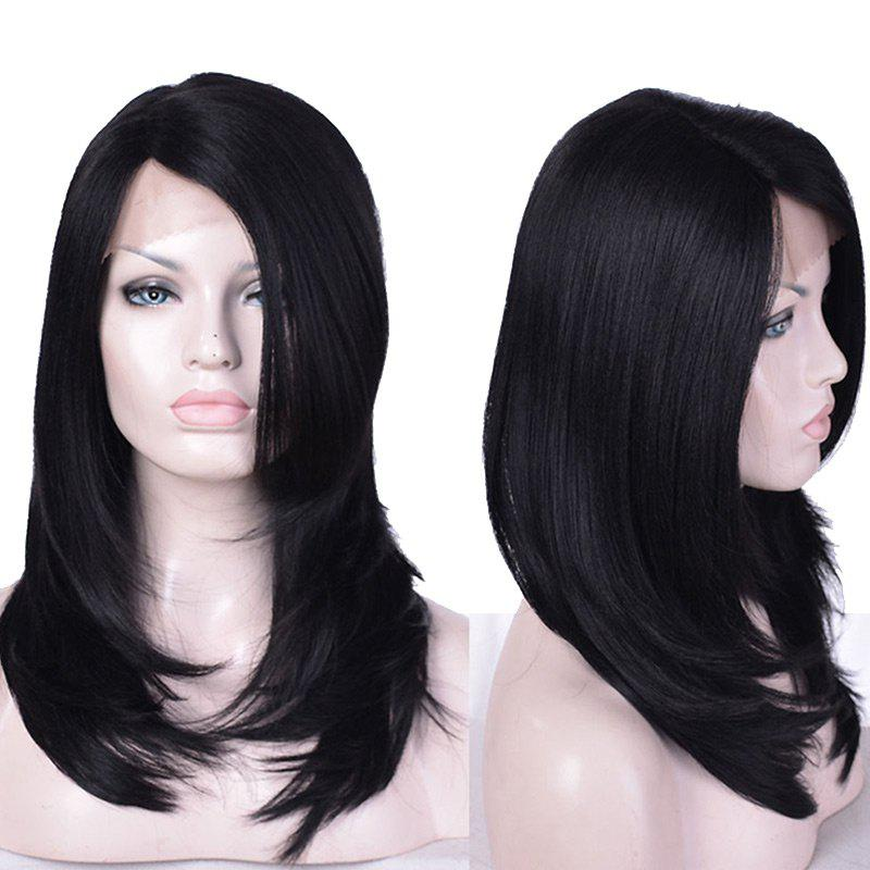 Long Side Parting Layered Straight Synthetic Lace Front Wig - BLACK