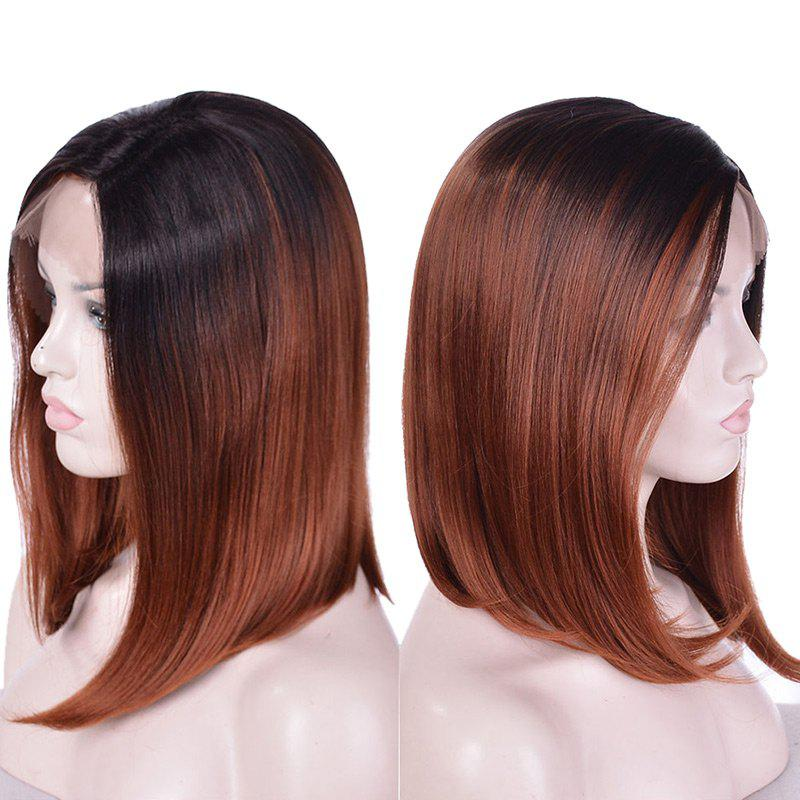 Medium Side Parting Ombre Straight Bob Synthetic Lace Front Wig - COLORMIX