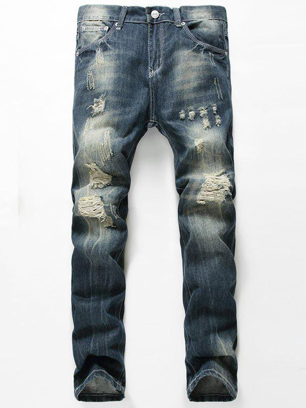 Faded Straight Leg Distressed Jeans дырокол index metallic 12 листов imp310 gy