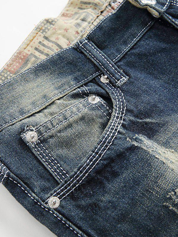 Faded Straight Leg Distressed Jeans - BLUE 42
