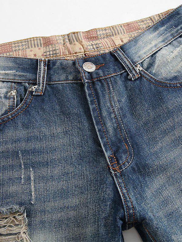 Distressed Faded Jeans with Straight Leg - BLUE 42