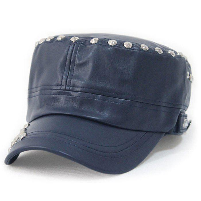 Rivet Decorated PU Leather Military Hat - CERULEAN
