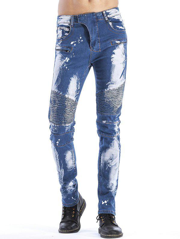 Tie Dyed Slim Fit Biker Jeans - BLUE 42