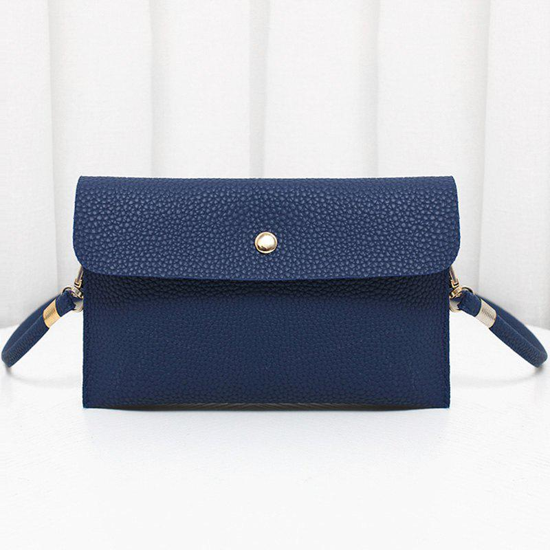 Minimalist PU Leather Flap Crossbody Bag - BLUE