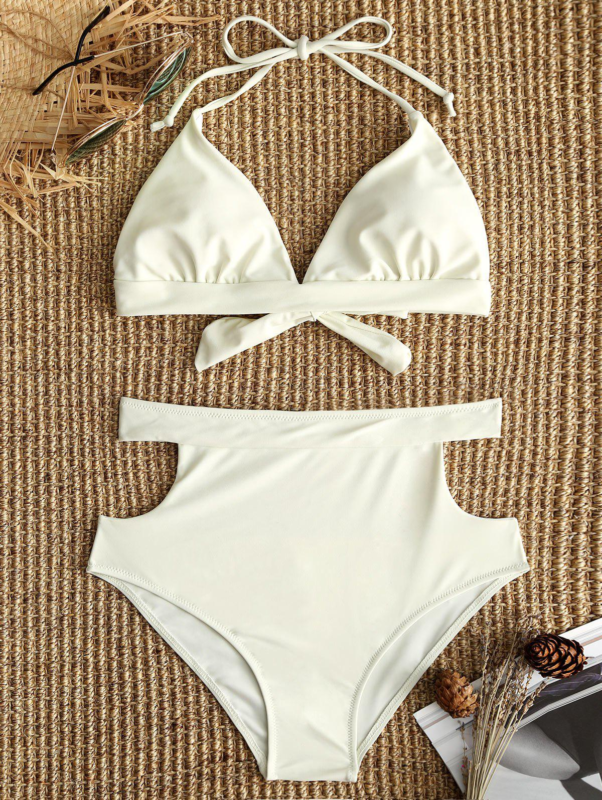 Halter Neck Cut Out Bikini Set - OFF WHITE S