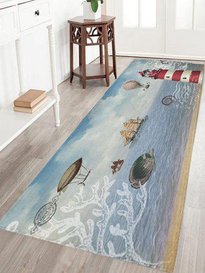 Nautical Elements Print Flannel Skidproof Bath Mat - COLORMIX W24 INCH * L71 INCH