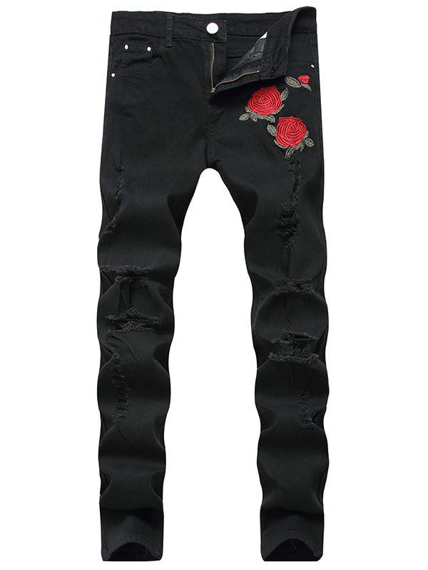Zip Fly Floral Embroidery Ripped Jeans - BLACK 42