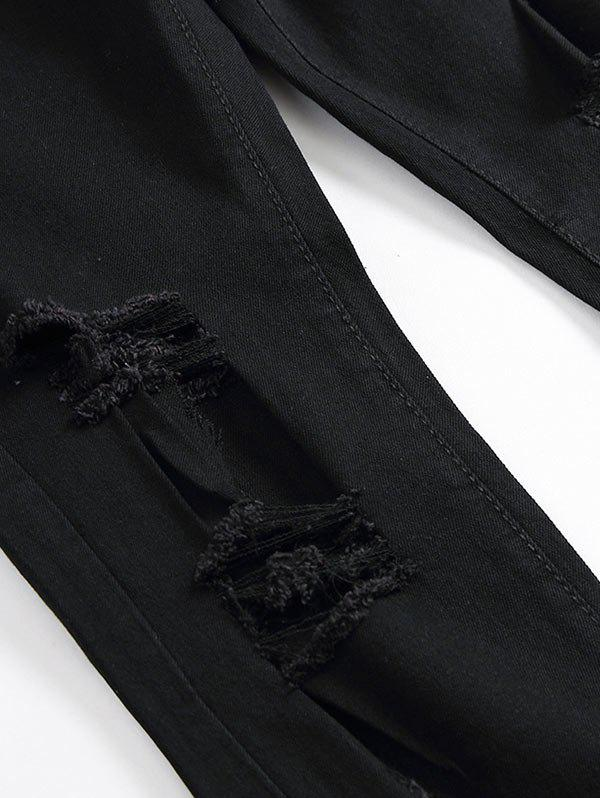Floral Embroidery Straight Leg Ripped Jeans - BLACK 42