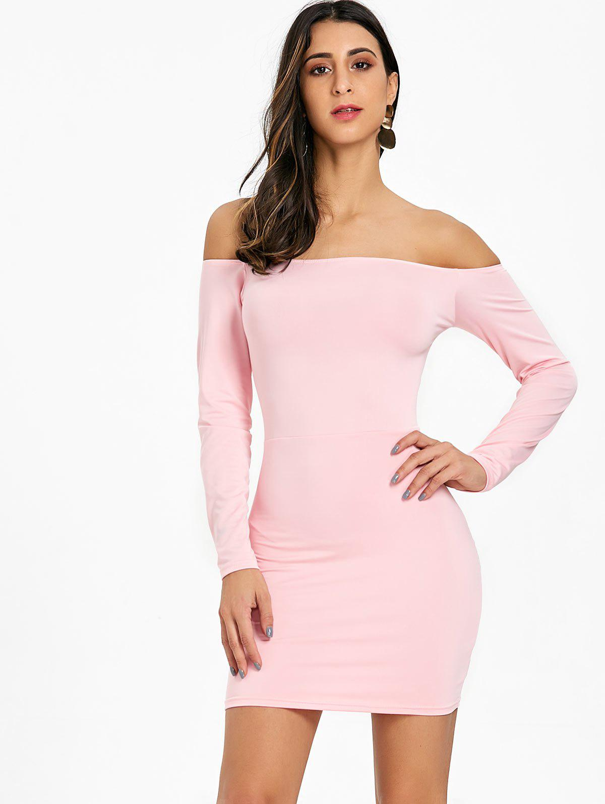 Long Sleeve Back Criss Cross Bodycon Dress - PINK L