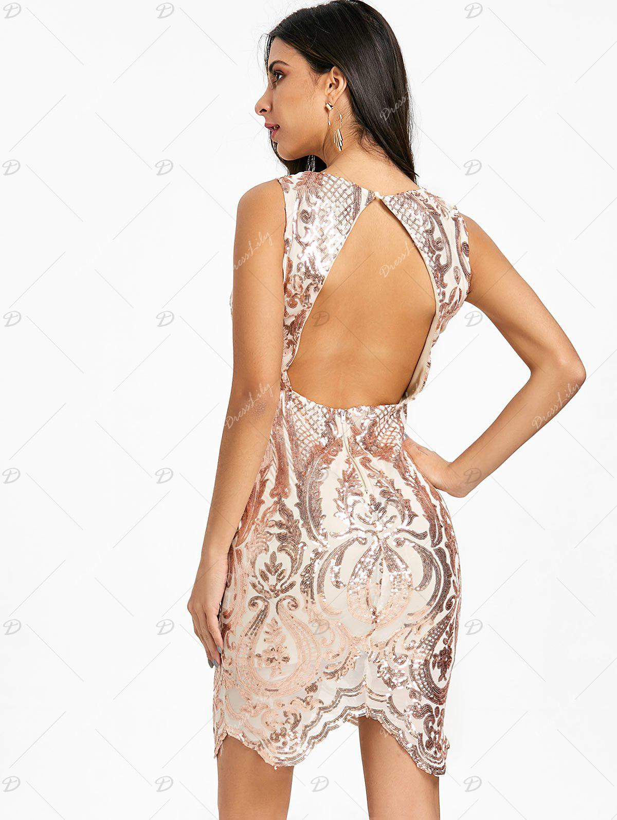 Backless Plunging Neck Sequin Bodycon Dress - CHAMPAGNE 2XL