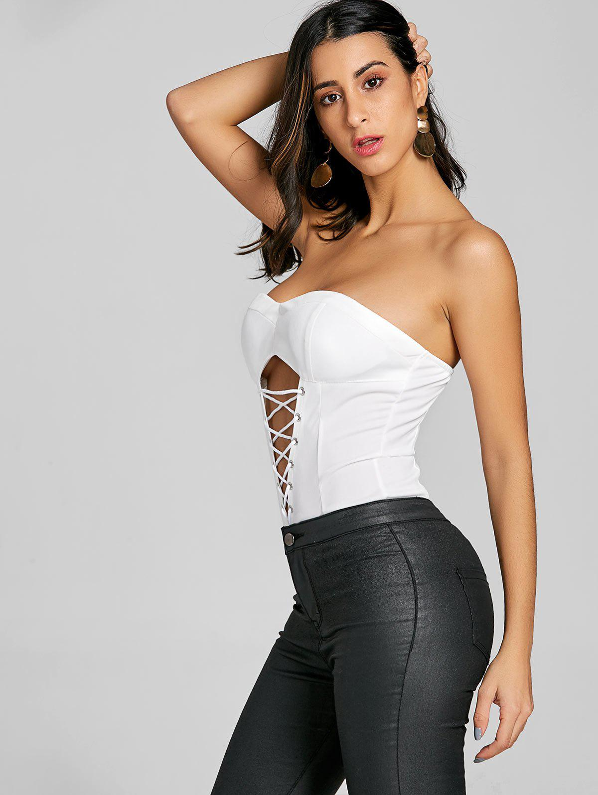 Cut Out Criss Cross Strapless Bodysuit - WHITE M