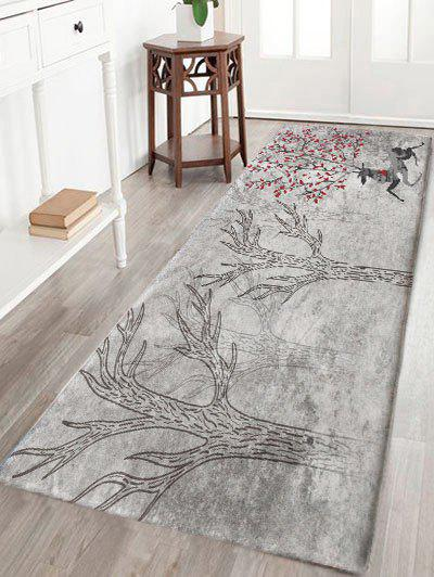 Forest Running Deer Print Skidproof Flannel Bath Rug - GRAY W24 INCH * L71 INCH