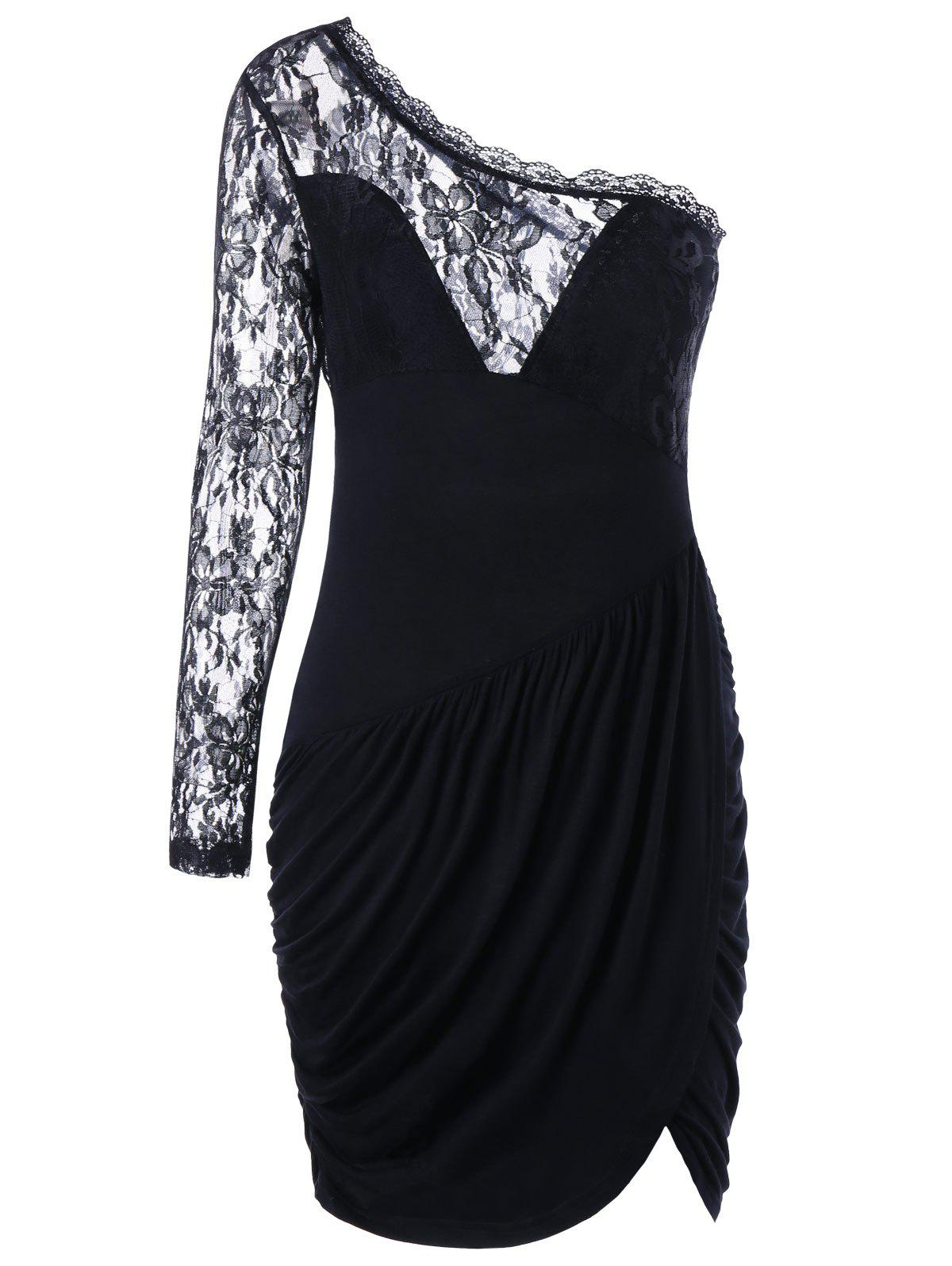 One Shoulder Lace Panel Ruched Dress - BLACK M