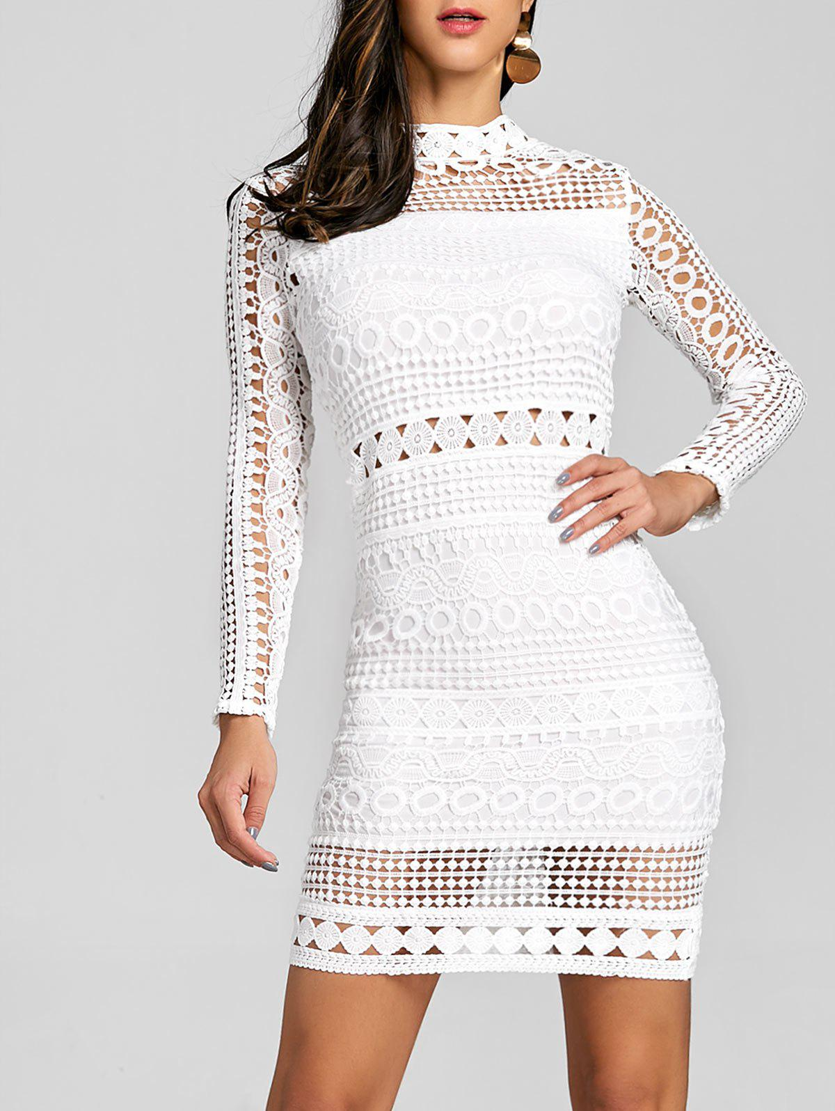 Hollow Out Mock Neck Dress - WHITE L