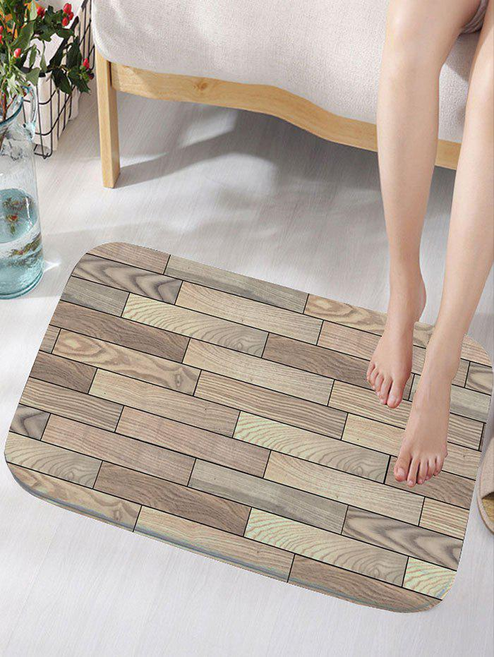 Wood Plank Print Flannel Skidproof Bath Rug vintage color block skidproof flannel bath rug