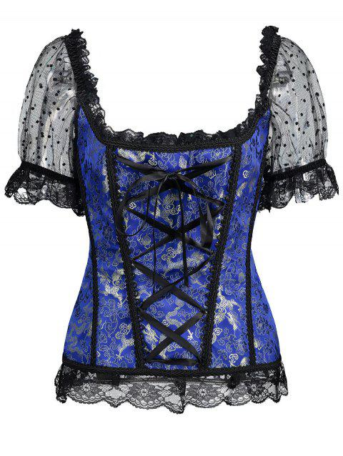 Off-The-Shoulder Mesh Lace-Up Corset Top With Sleeve - DEEP BLUE L