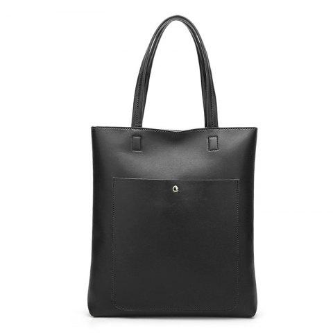 Minimalist Front Pocket Shoulder Bag - BLACK
