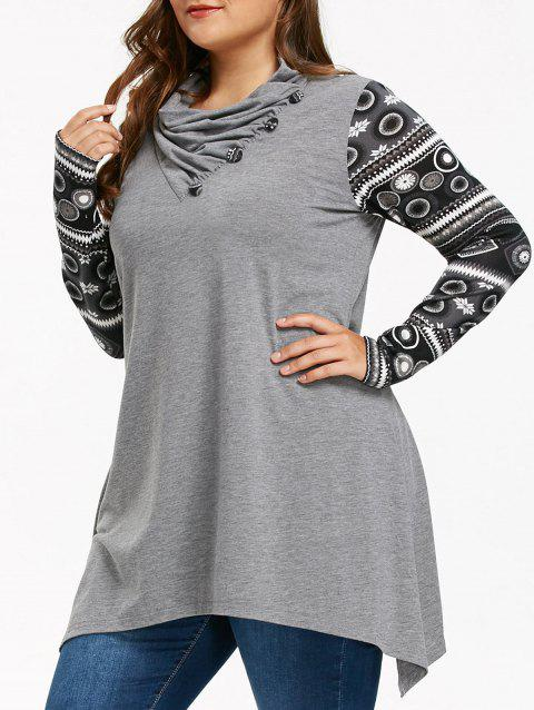 Heaps Collar Long Sleeve Plus Size Sharkbite T-shirt - GRAY XL